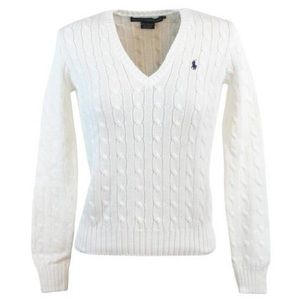 Ralph Lauren Sport White Long Sleeve Cable Sweater